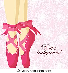 Beautiful feet of a ballerina in pointe shoes on a pink...