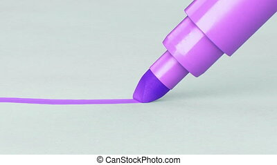 Beautiful Felt-tip Pen Changing Colors and Drawing Line on Paper Close-up. Looped 3d Animation. Abstract Writing and Drawing Process. Art and Design Concept. 4k UHD 3840x2160.