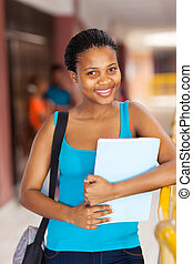 female african college student on campus