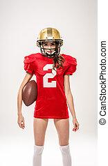Beautiful female american football player
