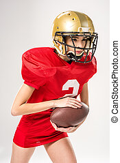 Beautiful female american football player