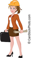 Beautiful female architect holding a briefcase and blueprint...