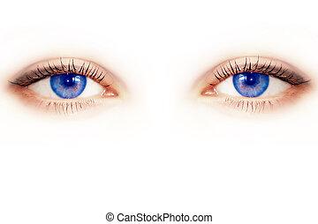 Beautiful female blue eye. Macro shooting