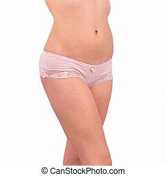 Beautiful female body in underwear isolated on white.
