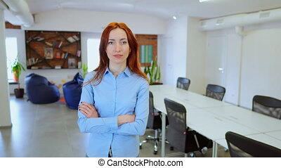 Beautiful female CEO in her office - Strong independent...