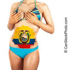 ecuador - Beautiful female closeup with ecuador flag