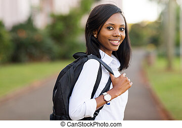 female college student going to school