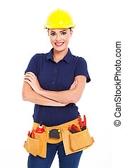 beautiful female construction contractor