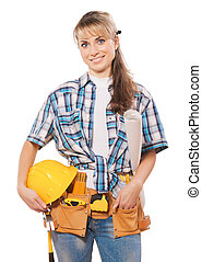 beautiful female construction worker holding hardat and blueprint