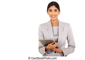 female corporate worker holding tablet computer