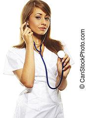beautiful female doctor isolates on white