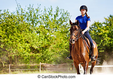 Beautiful female equestrian sits astride a horse outdoors at racetrack during show jumping competitions
