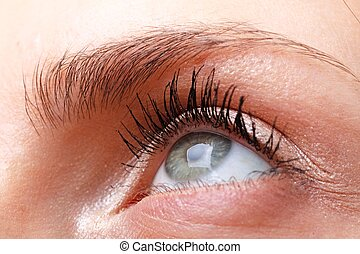 female eye with makeup close up