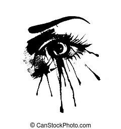 beautiful female eye with splashes of ink