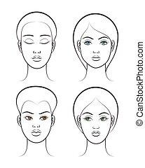 Beautiful female face set