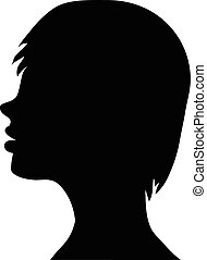 Beautiful female face silhouette in profile. Wedding vector design