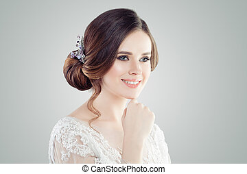 Beautiful female face. Smiling young woman portrait