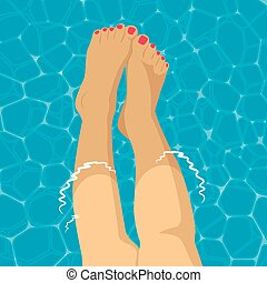 Beautiful female foot in swimming pool background
