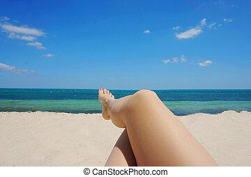 female foot on the beach