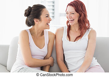 Beautiful female friends laughing in the living room