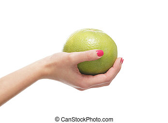 Beautiful female hand with the apple isolated on white