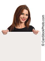 Beautiful female holding blank sign