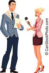 Beautiful female journalist, interviewee, reporter