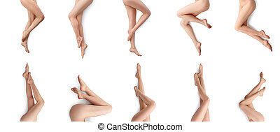 Beautiful female legs collage isolated on white