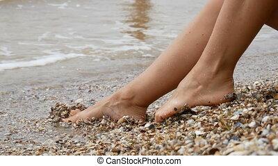 Beautiful female legs on the beach with small seashells