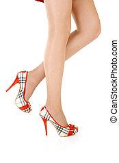 Beautiful female legs - Side view of beautiful female legs ...