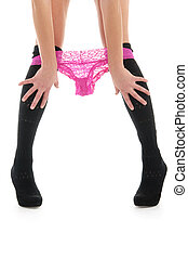 beautiful female legs with panties isolated on white