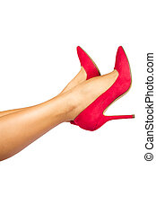 female legs with pink heels