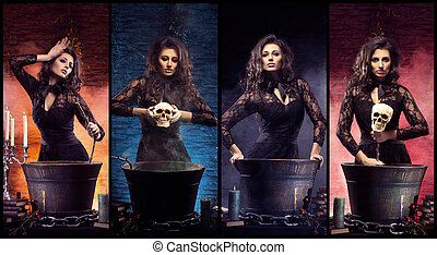 Beautiful female magician making witchcraft. Sexy witch in...