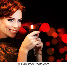 Beautiful female partying, celebrating holiday, portrait of ...