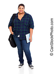 female plus size college student standing