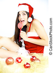 Beautiful female santa claus ready for christmas