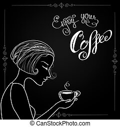 Beautiful female silhouette with a cup of coffee