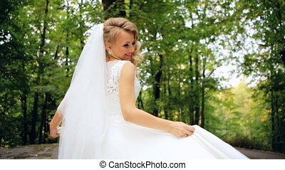 Beautiful Female Spinning Bride Dress Slow Motion close up