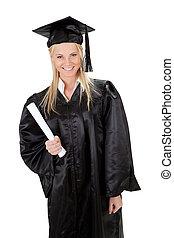 Beautiful female student graduating. Isolated on white