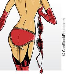 Beautiful Female Underwear Model in a Strip tease pose