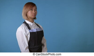 beautiful female wearing apron - attractive korean woman...