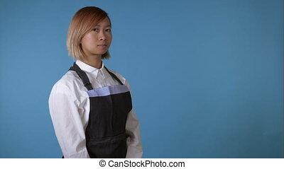 beautiful female wearing apron