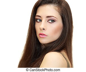 Beautiful female woman looking with long brown hair. Closeup isolated portrait
