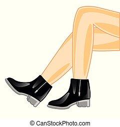 Beautiful feminine legs in footwear
