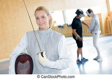 beautiful fencing woman