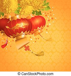 Chinese lanterns - Beautiful festive vector background with ...