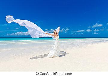 beautiful fiancee in white wedding dress and big long white...