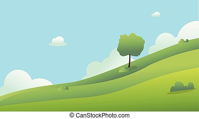 Beautiful fields landscape with a dawn, green hills, bright color blue sky, background.Meadow landscape vector illustration.Green field with clouds and blue sky