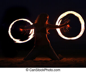 Fire Dance on the Beach at Night