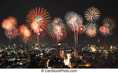 beautiful firework display above the city